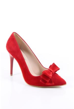 Shoes&Moda 509-1017-1015-Fy Kırmızı Süet Kadın Stiletto Ayakkabı