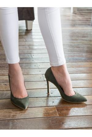 Mecrea Exclusive Liset Haki Yeşil Süet Stiletto