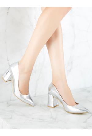 Mecrea Exclusive Bardot Gümüş Kalın Topuklu Stiletto