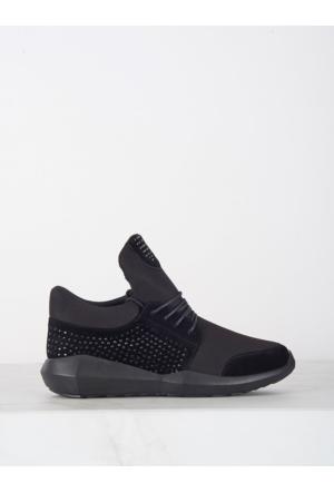 Mecrea Exclusive Bahiti Siyah Taşlı Spor Ayakkabı