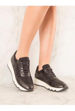 Mecrea Exclusive Akila Siyah Taşlı Spor Ayakkabı