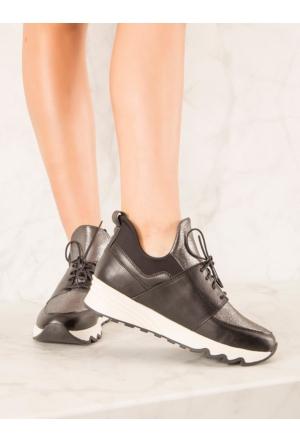 Mecrea Exclusive Ernesto Siyah Gümüş Spor Ayakkabı