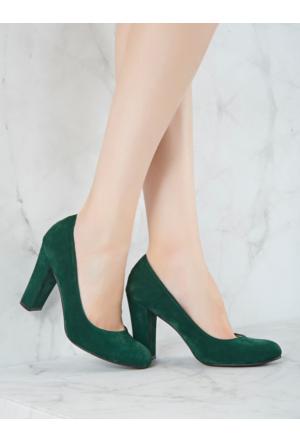 Mecrea Exclusive Grant Haki Yeşil Süet Topuklu Ayakkabı