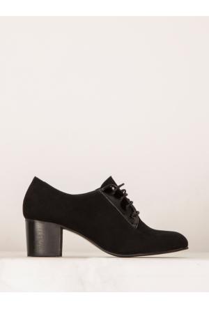 Mecrea Exclusive Jamaika Siyah Süet Kombin Alçak Topuklu Ayakkabı