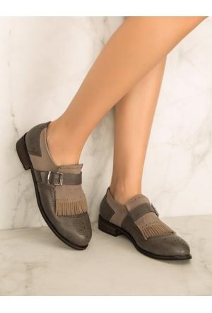 Mecrea Exclusive Bianca Gri Kombin Püsküllü Loafer