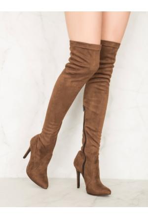 Mecrea Exclusive Britney Kahverengi Uzun Çorap Çizme