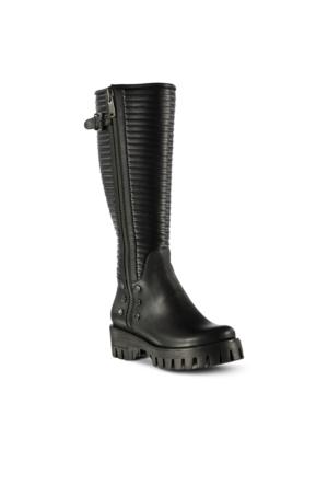 Marjin Zitura Topuklu Çizme Siyah