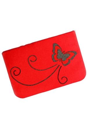 Buparti Keçeden Kelebek Desenli Kırmızı Portföy Çanta