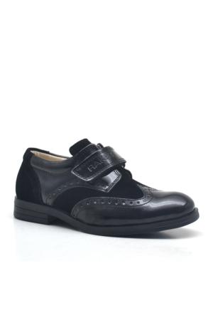 Raker Cırtlı Siyah Rugan Klasik Erkek Çocuk Okul Ayakkabısı