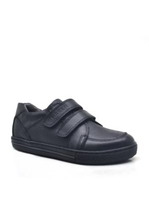 Raker® Hakiki Deri Cırtlı Siyah Erkek Spor Ayakkabısı