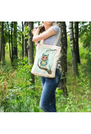 KFBimilyon Desenli Baykuş Baskılı Bez Çanta