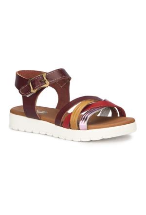 Polaris 71.509162.P Bordo Kız Çocuk Deri Sandalet