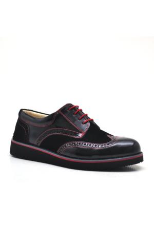 Raker® Yüksek Taban Siyah Rugan Erkek Çocuk Okul Ayakkabısı