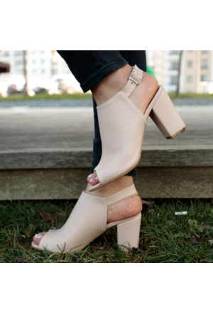 İnce Topuk Bej Topuklu Ayakkabı