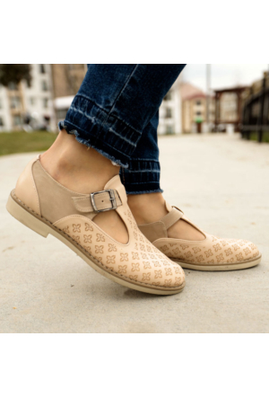 İnce Topuk Bej Oxford Ayakkabı