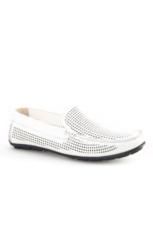 Cabani Lazerli Makosen Günlük Erkek Ayakkabı Beyaz Napa Deri