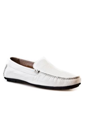 Cabani Lazerli Makosen Günlük Erkek Ayakkabı Beyaz Kırma Deri