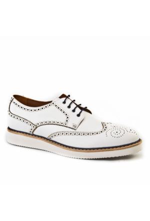 Cabani Oxford Günlük Erkek Ayakkabı Beyaz Kırma Deri