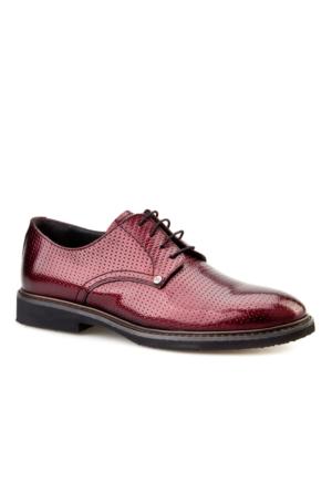 Cabani Lazerli Günlük Erkek Ayakkabı Bordo Açma Deri