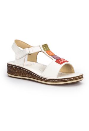 Polaris 5 Nokta 71.109699.Z Beyaz Kadın Deri Sandalet