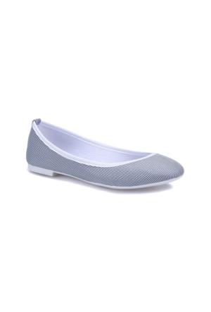 Miss F Ds17001 Beyaz Lacivert Kadın Babet