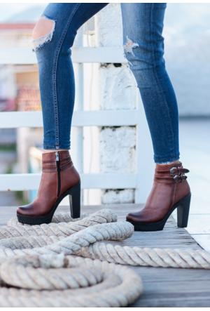 Erbilden Stk-Gök Taba Cilt Çift Kemerli Kadın Topuklu Bot