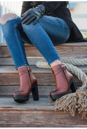 Erbilden Stk-Gök Taba Cilt Kemerli Fermuarlı Kadın Topuklu Bot