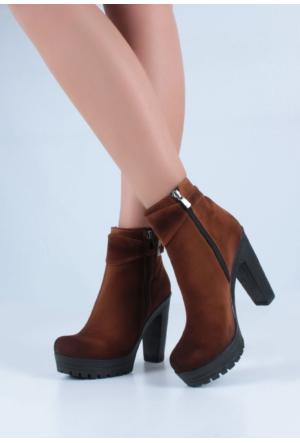 Erbilden Stk-Gök Taba Süet Kemerli Fermuarlı Kadın Topuklu Bot