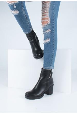 Erbilden Stk-Gök Siyah Çift Kemerli Kadın Kısa Topuk Bot