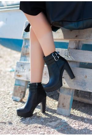 Erbilden Stk-Gök Siyah Cilt Çift Kemerli Kadın Topuklu Bot