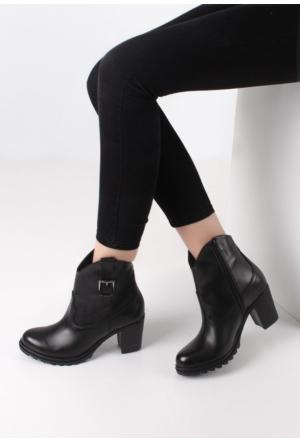Erbilden Stk-Sür Siyah Cilt Fermuarlı Kadın Topuklu Bot