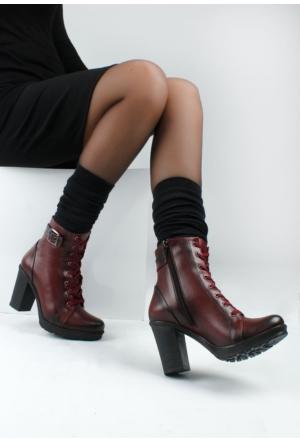 Erbilden Tua Bordo Cilt Kemerli Bağcıklı Kadın Topuklu Bot