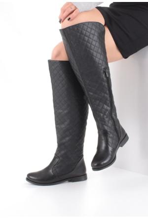 Erbilden Stk-Erb Siyah Cilt Düz Taban Capitone Kadın Çizme