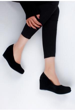 Erbilden Şev Siyah Süet Kadın Dolgu Topuk Ayakkabı
