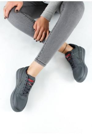 Erbilden Akk Gri Cilt Kadın Bağcıklı Spor Ayakkabı