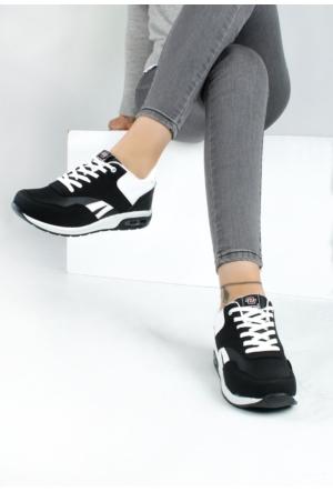 Erbilden Akk Siyah Beyaz Cilt Kadın Spor Ayakkabı