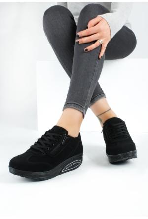 Erbilden Akk Siyah Süet Kadın Dolgu Taban Spor Ayakkabı