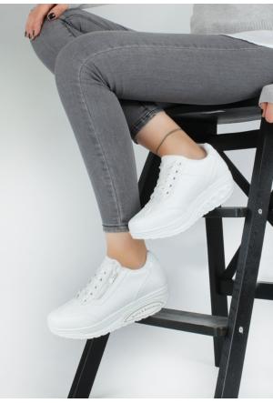 Erbilden Akk Beyaz Cilt Kadın Dolgu Taban Spor Ayakkabı