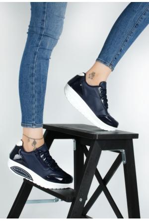 Erbilden Akk Lacivert Cilt Rugan Kadın Dolgu Taban Spor Ayakkabı