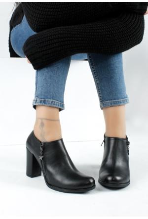 Erbilden Bus Siyah Cilt Çift Fermuarlı Kadın Topuklu Ayakkabı