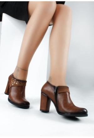 Erbilden Bus Taba Cilt Taşlı Kadın Topuklu Ayakkabı