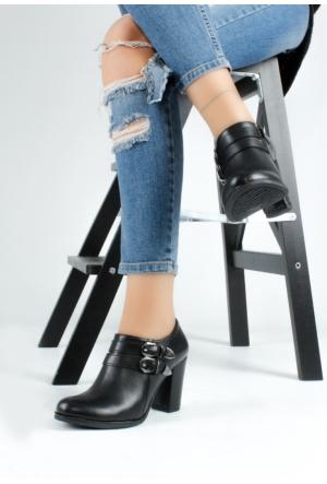 Erbilden Bus Siyah Çift Kemerli Kadın Topuklu Ayakkabı