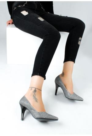 Erbilden Erb Gümüş Simli Yan Kesim Kadın Stiletto Ayakkabı