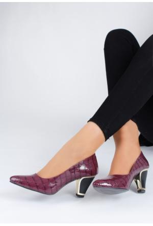 Erbilden Fest Bordo Rugan Desenli Kadın Kısa Topuk Ayakkabı