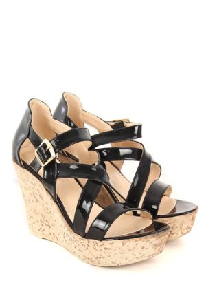 Gön Kadın Sandalet 36057 Siyah Rugan