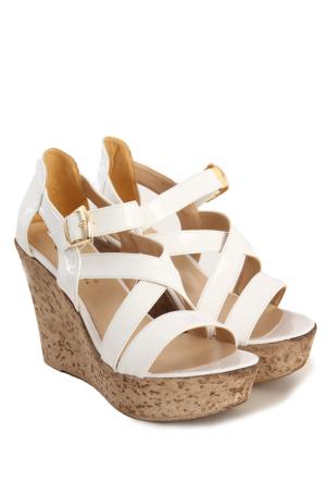 Gön Kadın Sandalet 36057 Beyaz Rugan