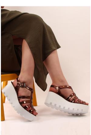 Gön Kadın Sandalet 53557 Bakır Rugan