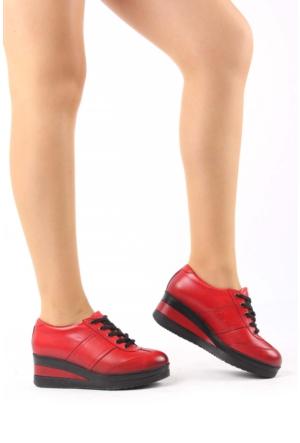 Gön Kırmızı Antik Deri Kadın Ayakkabı 21011