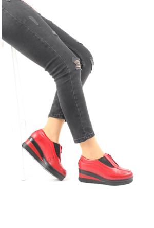Gön Kırmızı Antik Deri Kadın Ayakkabı 21232