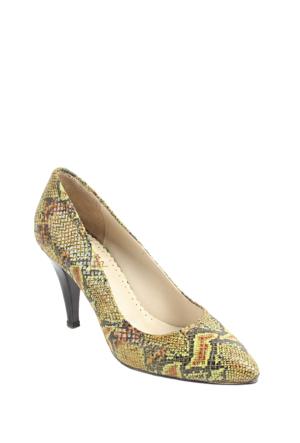 Gön Deri Kadın Ayakkabı 22292 Yeşil Yılan